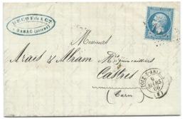 N° 22 BLEU NAPOLEON SUR LETTRE / FOIX SUR ARIEGE POUR CASTRES / 1866 - 1849-1876: Classic Period
