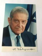 Ezer Weizman President Of Israel Photo Autograph Hand Signed 12x17 Cm - Dédicacées