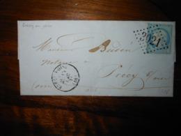 Lettre GC 3021 Precy Sur Oise Avec Correspondance - 1849-1876: Classic Period