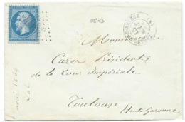 N° 22 BLEU NAPOLEON SUR LETTRE / TARASCON SUR ARIEGE POUR TOULOUSE / 1864 - 1849-1876: Classic Period