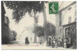 66-PEZILLA-DE-LA-RIVIERE-La Promenade...1912  Animé   Café De La PROMENADE... - Autres Communes