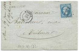 N° 22 BLEU NAPOLEON SUR LETTRE / MIREPOIX ARIEGE POUR TOULOUSE / 1864 - 1849-1876: Classic Period