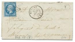 N° 22 BLEU NAPOLEON SUR LETTRE / MASSAT ARIEGE POUR MIRAMONT / 1864 / BOITE RURALE C SOULAN - 1849-1876: Classic Period