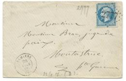 N° 22 BLEU NAPOLEON SUR LETTRE / PAMIERS ARIEGE POUR MONTASTRUC / 1866 - 1849-1876: Classic Period