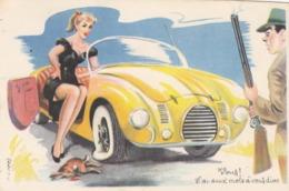 CPSM Pin-up Sexy Bas Girl Voiture De Sport Chasseur Fusil Lapin Tué Pneu Crevé Illustrateur L. CARRIERE N°378 (2 Scans) - Carrière, Louis
