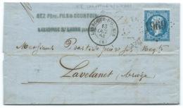 N° 22 BLEU NAPOLEON SUR LETTRE / LARROQUE D'OLMES ARIEGE POUR LAVELANET / 1864 - 1849-1876: Classic Period