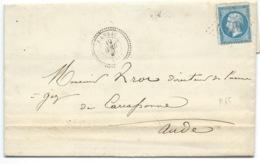 N° 22 BLEU NAPOLEON SUR LETTRE / CRANSAC POUR CARCASSONNE / 1866 / COMPAGNIE DES MINES DE CAMPAGNAC - Marcophilie (Lettres)