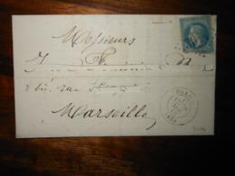 Lettre GC 3014 Prades Pyrénées Orientales Avec Correspondance - 1849-1876: Classic Period
