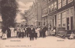 AMSTERDAM 1901 ZANDHOEK MET VEEL VOLK - MOOIE ANIMATIE - UITG. BUURMAN DE HAAS - Amsterdam