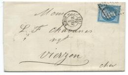N° 22 BLEU NAPOLEON SUR LETTRE / NIMES POUR VIERZON / 1864 - Marcophilie (Lettres)