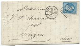 N° 22 BLEU NAPOLEON SUR LETTRE / NIMES POUR VIERZON / 1864 - 1849-1876: Classic Period