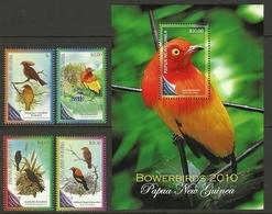 PAPUA NEW GUINEA  2010  BIRDS  SET & MS  MNH - Pájaros