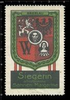 Old German Poster Stamp Cinderella Vignette Erinoffilo Reklamemarke Siegerin Margarine Flag Flagge City Stadt Wroclaw. - Flaggen