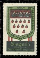 German Poster Stamp Cinderella Vignette Erinoffilo Reklamemarke Siegerin Margarine Flag Flagge City Stadt Cologne Köln. - Flaggen
