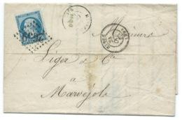 N° 22 BLEU NAPOLEON SUR LETTRE / NIMES POUR MARVEJOLS / 1865 - Marcophilie (Lettres)
