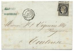 N° 3 CERES GRILLE SUR LETTRE / MARSEILLE POUR TOULOUSE  / 1849 - 1849-1876: Classic Period