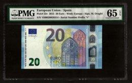 SPAIN - VH - V003 A5 - 20 EURO - VH0020039314 - NUMERO BAJO -  PMG 65 EPQ . M. DRAGHI - EURO