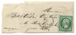 N°12 VERT NAPOLEON SUR BANDE / BEZIERS POUR LA MOULINE AVEYRON  / 1857 - 1849-1876: Classic Period