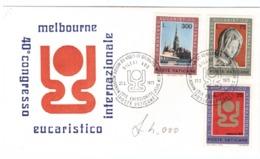 CITTà DEL VATICANO - 40° CONGRESSO EUCARISTICO INTERNAZIONALE - MELBOURNE - SERIE COMPLETA DI 3 VALORI - - FDC