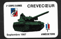 Crevecoeur / Oise ? / 1987 3ème Corps D'Armèe Char Armée De Terre Militaria - Sticker Adhésif Autocollant - Adesivi