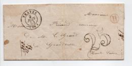 - Boite Rurale RAZE Via TRAVES Pour GRANDVELLE Via FRETIGNEY (Haute-Saône) 8 JUIN 1854 - Taxe Tampon 25 Centimes - - 1849-1876: Classic Period