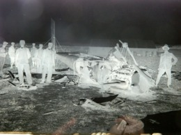 WW1 - GRANDE PLAQUE DE VERRE - NEGATIF - ACCIDENT AVION - MILITAIRE - MILITARIA - ANIMEE - 17,5 X 12,5 Cm - Glasdias
