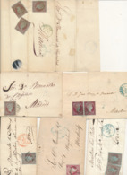 SPAIN 1855/1860 ISSUES ISABELL II 4CU  SELECTION OF COVERS OVIEDO MURCIA ASTORGA LERIDA - 1850-68 Royaume: Isabelle II
