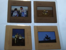 Paris Dakar 1988 - Motos Honda - Lot De 4 Diapositives - Motos