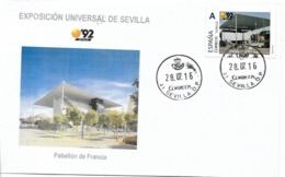 SPAIN. COVER EXPO'92 SEVILLA. FRANCE PAVILION - 1931-Hoy: 2ª República - ... Juan Carlos I