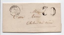 - Lettre MONTBOZON (Haute-Saône) Pour CHALON-SUR-SAÔNE 29 OCT 1857 - Taxe Tampon 30 Centimes - - Marcophilie (Lettres)