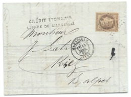 N°31 40c ORANGE NAPOLEON SUR LETTRE / MARSEILLE POUR RIEZ  / 1873 - 1849-1876: Classic Period