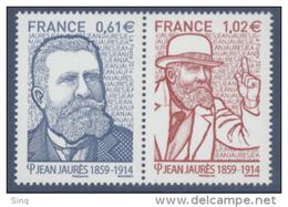 N° 4869 & 4870 Jean Jaurès Faciale 0,61+1,02 € - France