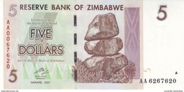 ZIMBABWE 5 DOLLARS 2007 P-66 NEUF  [ZW157a] - Simbabwe