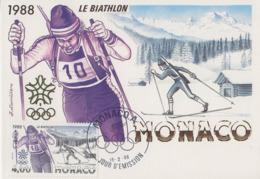 Carte  Maximum  1er  Jour   MONACO    JEUX   OLYMPIQUES     CALGARY    1988 - Winter 1988: Calgary