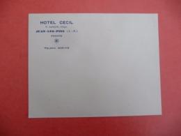 ENVELOPPE Vierge HOTEL CECIL JUAN LES PINS ( Téléphone 405-12 - Reclame