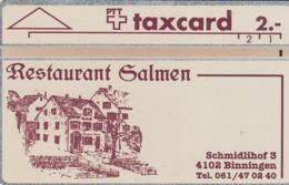 SWITZERLAND - Restaurant Salmen, Binningen ,11/91 ,CN:111E ,Tirage 800, 2 Fr, Used - Zwitserland