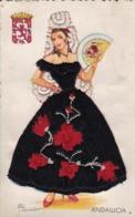 AK Andalucia - Materialkarte Stoff Stickerei - Mode Kleid Fächer  (44344) - Ansichtskarten