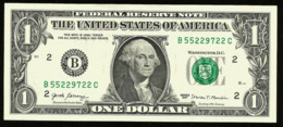* USA 1 Dollar 2017 ! UNC !  Beautiful   Number 55229722 - Biljetten Van De  Federal Reserve (1928-...)