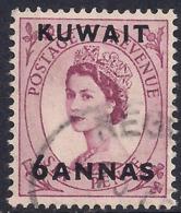 Kuwait 1952 - 54 QE2 6 Annas On 6d Purple SG 100 ( A629 ) - Kuwait