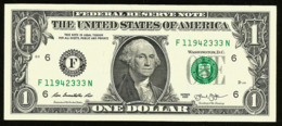 * USA 1 Dollar 2013 ! UNC !  Beautiful   Number 11942333 - Federal Reserve (1928-...)