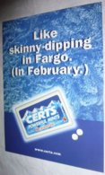 Carte Postale - édition Max Racks - Like Skinny-dipping In Fargo. (In February.) Certs Powerful Mints - Pubblicitari