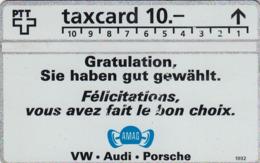 SWITZERLAND - AMAG VW-Audi-Porsche ,06/92 ,CN:206L ,Tirage 38.000, 10 Fr, Used - Suisse