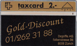 SWITZERLAND - Degriffe AG ,Gold-Discount ,02/92 ,CN:202L ,Tirage 700, 2 Fr, Used - Zwitserland