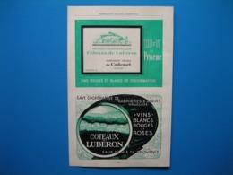 (1947) Coopérative De CADENET - Coopérative De CABRIÈRES D'AIGUES - Carte Des Vins Des Côteaux Du LUBERON - Reclame