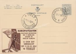 Entier Postal 1F50 Pub Europafeesten Tielt 1959 Cachet Automobiel Postkantoor - Werbepostkarten