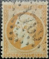 FRANCE Y&T N°23b Napoléon 40c Orange Vif. Oblitéré Losange G.C. N°1769 Le Havre - 1862 Napoleon III