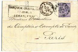 BELGIUM COVER FROM CHARLEROI 22.06.1885 TO PARIS - 1883 Leopold II.