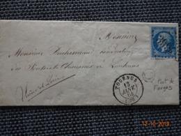 """TOURNUS : Lettre De 1864 : GC 3994  + CàD Type 15  + Boite Rurale C  """" Port De Farges """"  ( Identifiée ) - 1849-1876: Classic Period"""