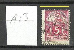 Estland Estonia 1922 Michel 37 A Perforation Shift ERROR Abart Variety A: 3 O - Estland