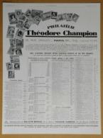1929 Philatélie Théodore Champion 13 Rue Drouot Paris (Négociant En Timbres) - Panatrope Brunswick - Innophone Publicité - Reclame